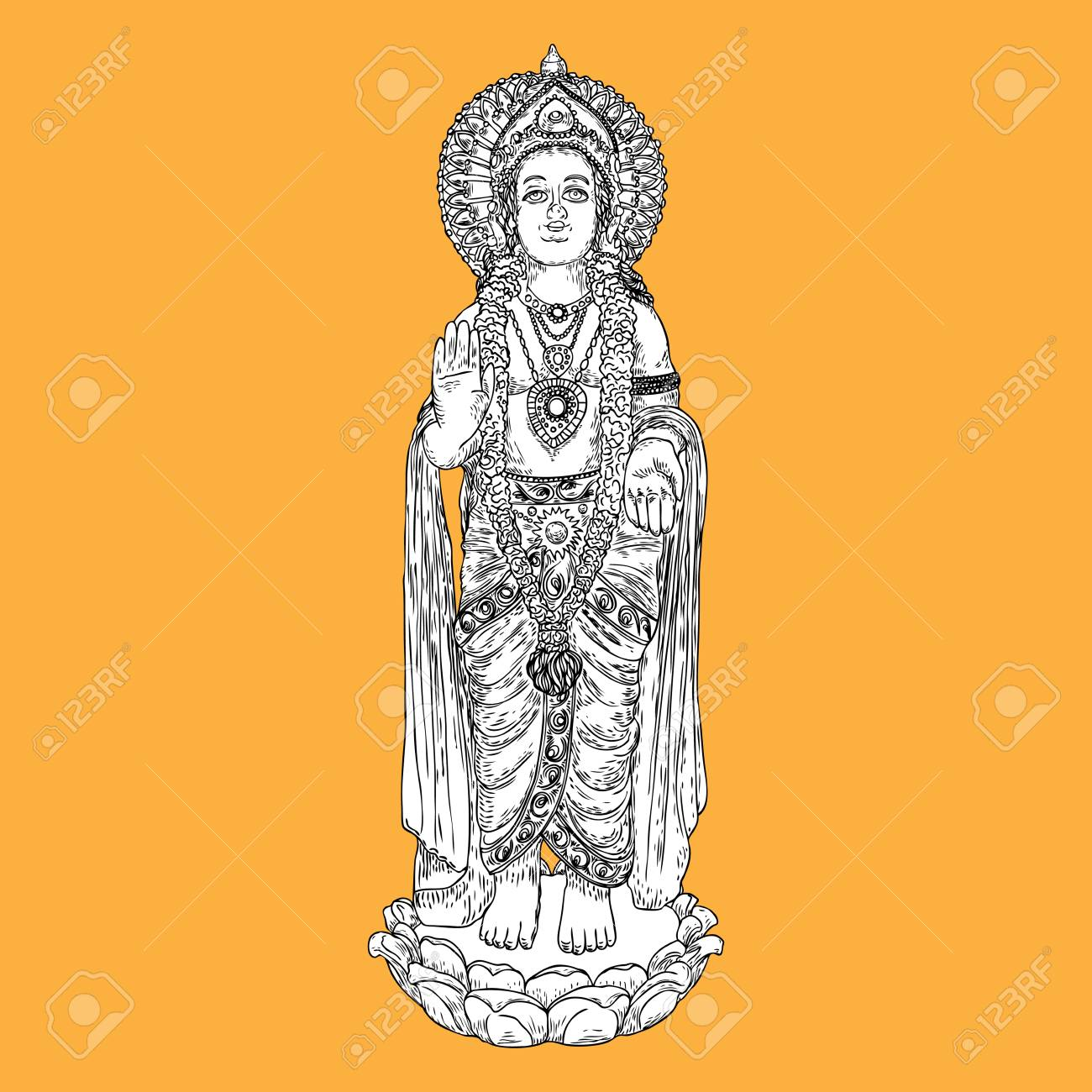 Lord Murugan classic statue drawing, God of war, son of Shiva