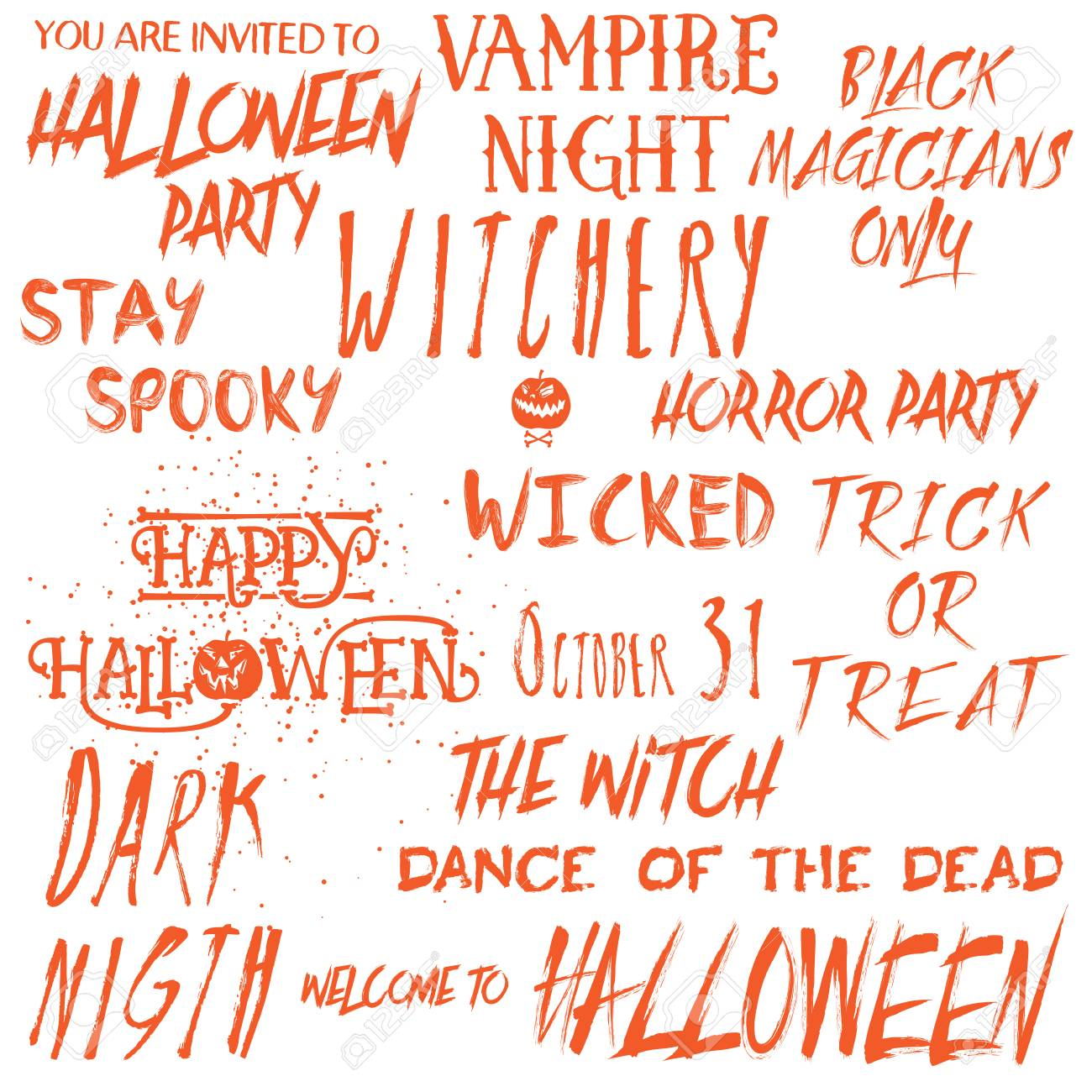 Set of Halloween quotes for posters about Halloween party and