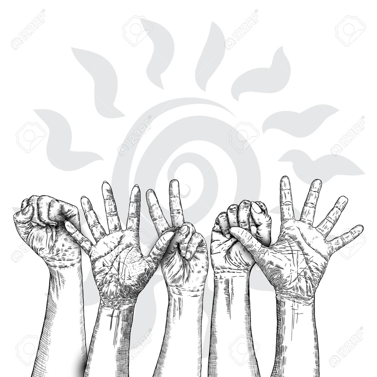 Fists Hands Up Concept Of Unity Revolution Fight Cooperation Royalty Free Cliparts Vectors And Stock Illustration Image 116843853