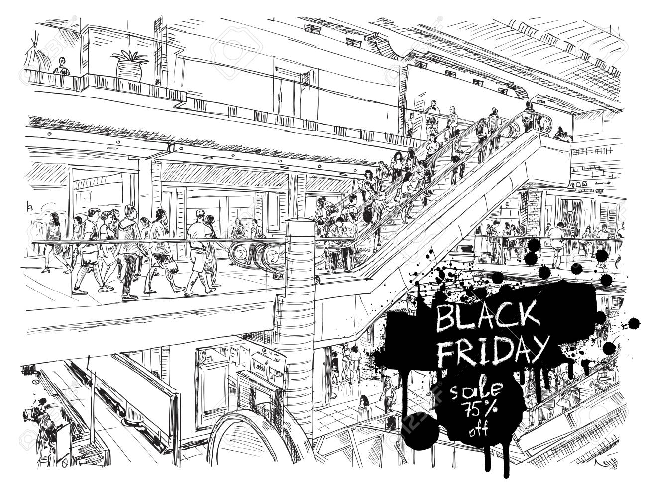 9dadb3d8d Black Friday sale discount banner. Hand drawing of people shopping in the  large mall or