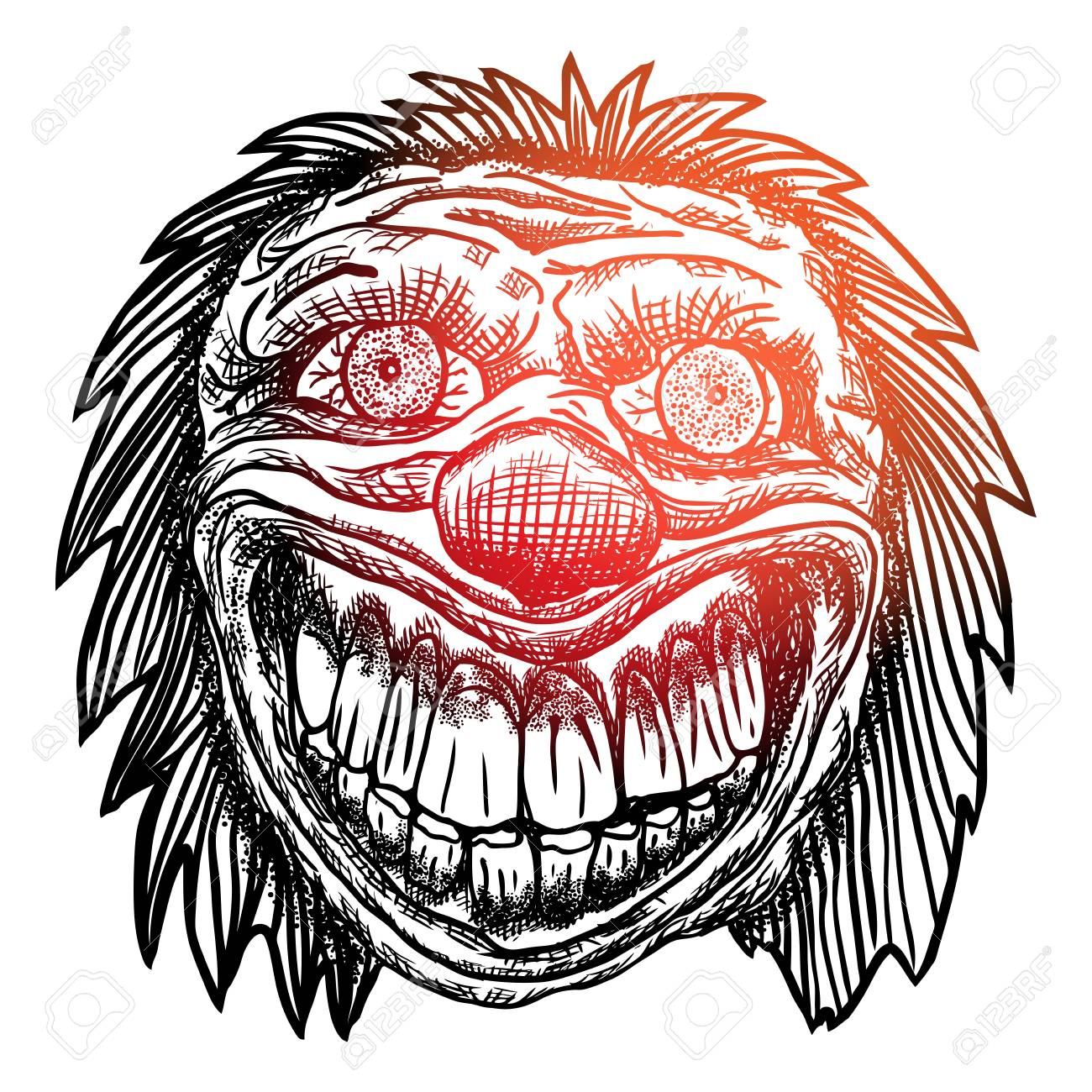 Blackwork Adult Flesh Tattoo Concept Of Devil Clown Head Inspired Royalty Free Cliparts Vectors And Stock Illustration Image 116844077