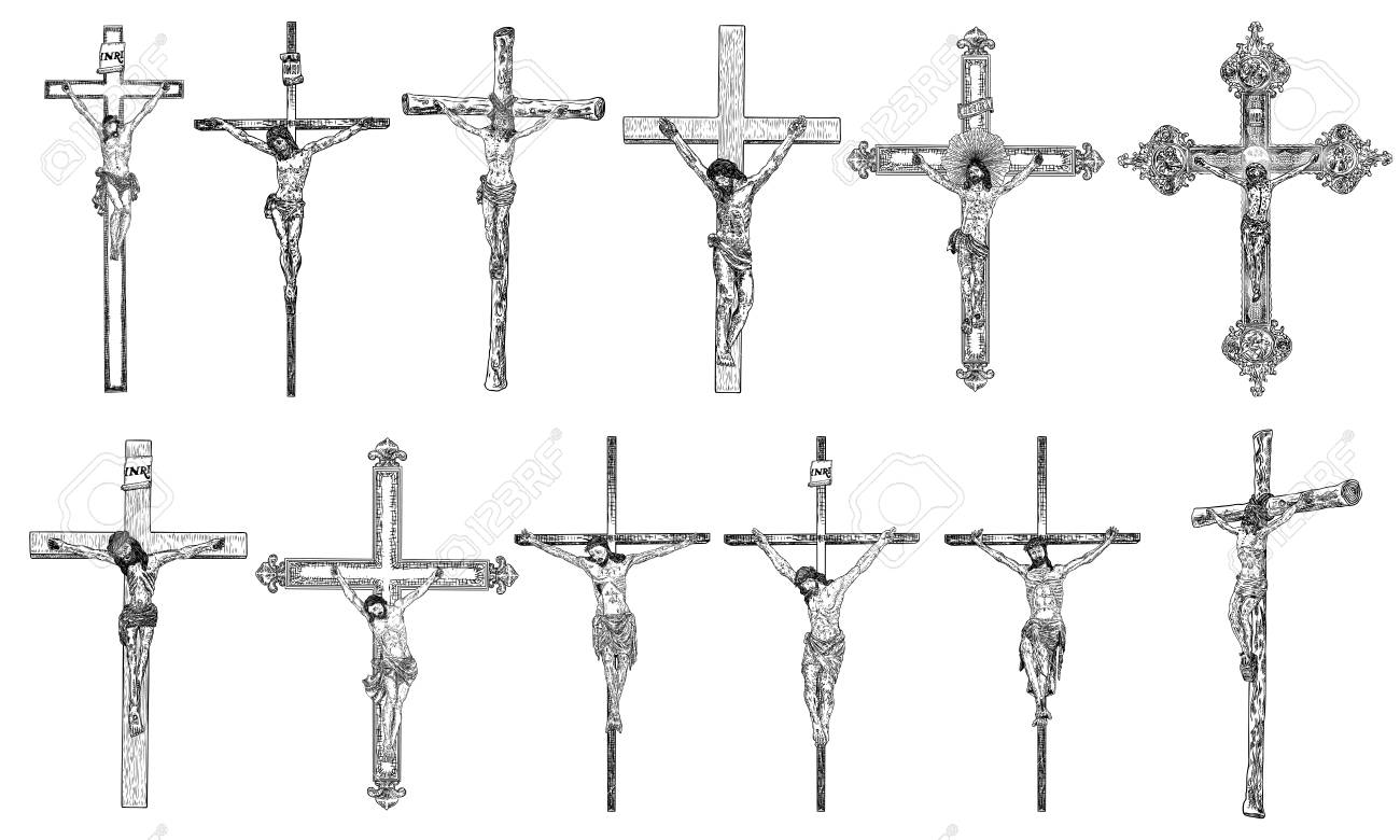 Set of hand drawings of jesus christ on the cross son of god crucifixion for