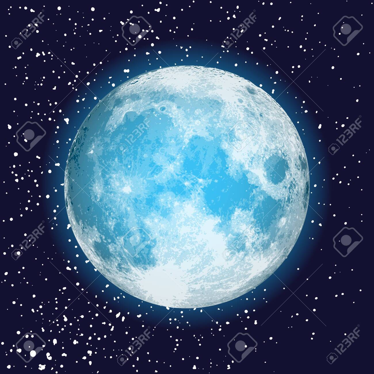 Realistic full moon isolated  Shiny on dark blue space background