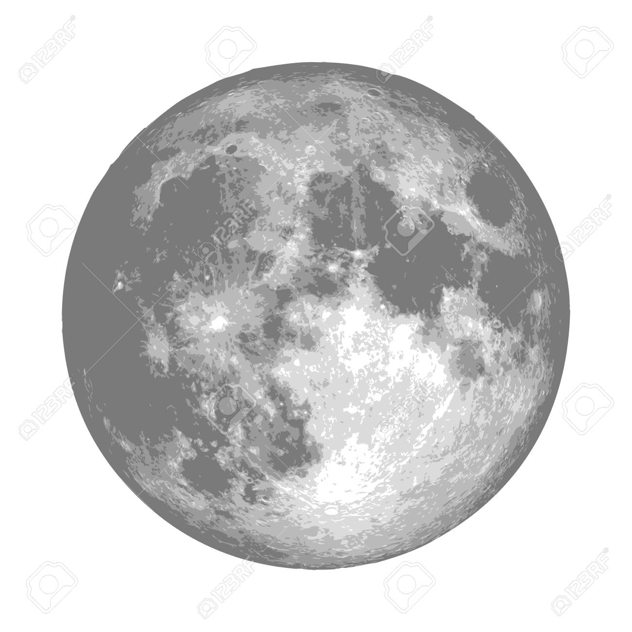 Realistic full moon  Astrology or astronomy planet design  Vector