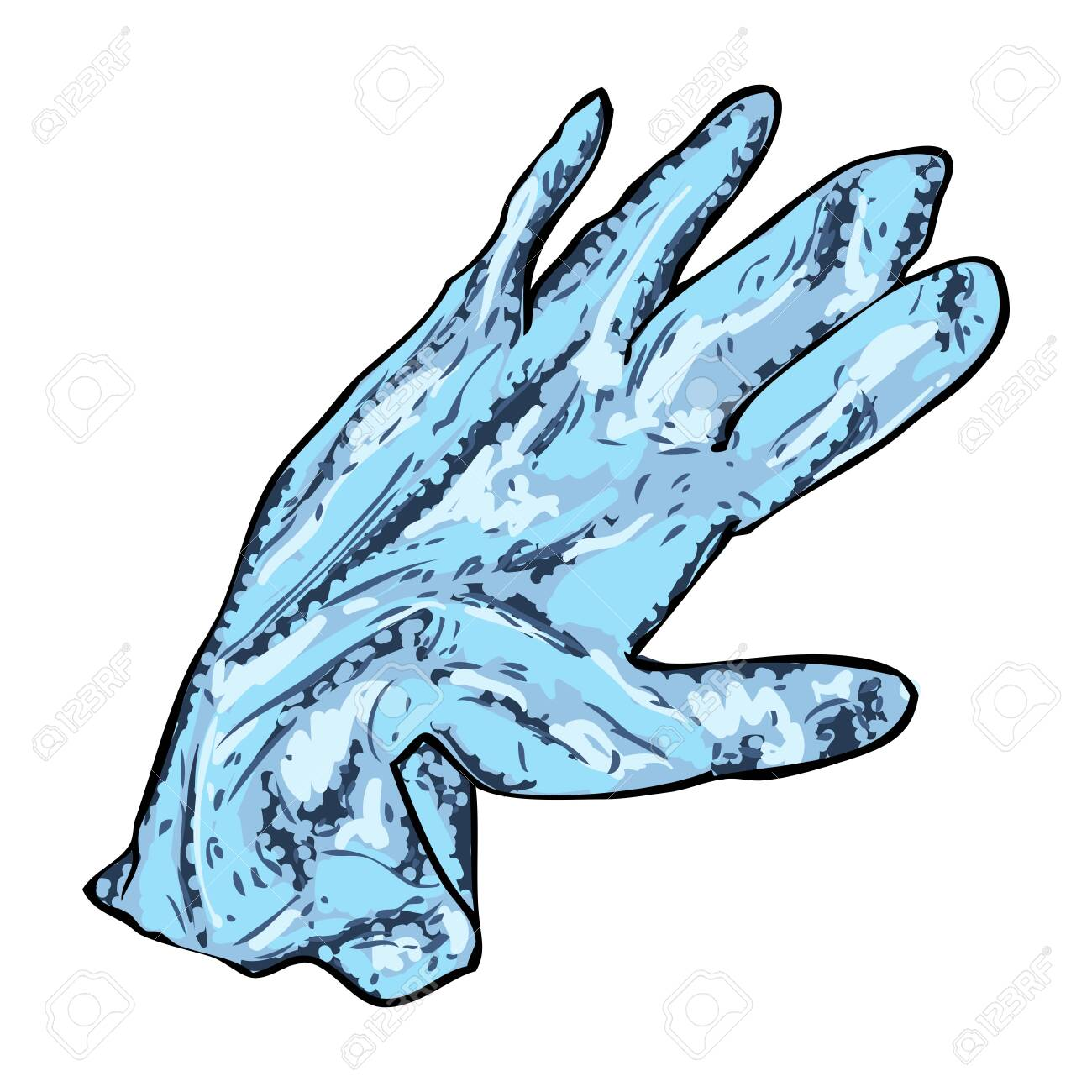 Not proper and wrong disposal of used medical gloves. Littering of hazardous contaminated bio waste disposal on the ground. Coronavirus COVID-19 prevention advice drawing. - 146028167