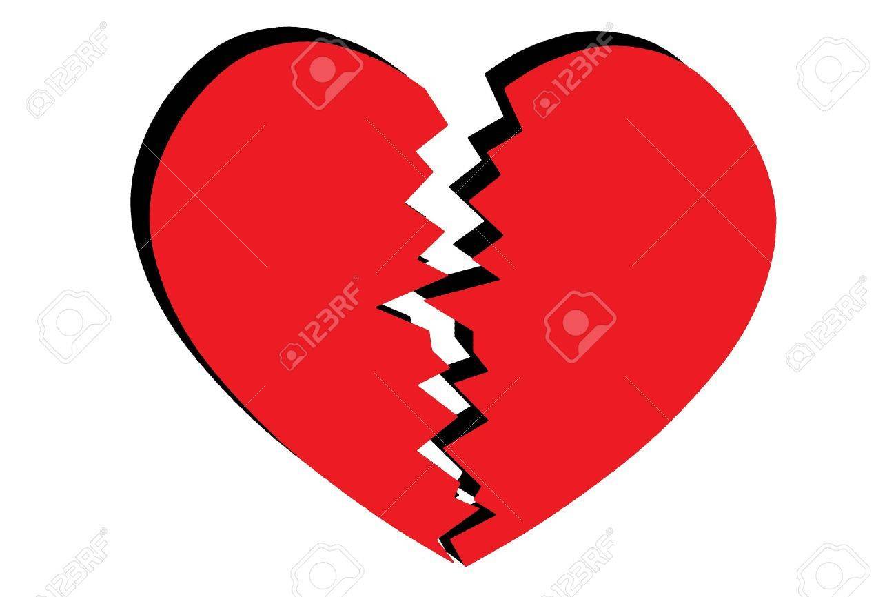 Broken hearted - red heart split in two - on white Stock Photo - 6006674