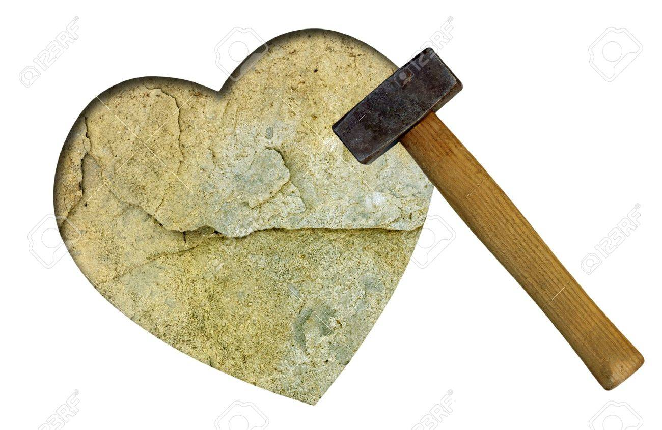 Stone heart with club hammer - unrequited love concept Stock Photo - 8156899