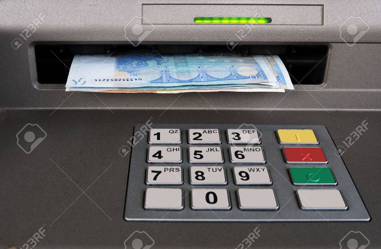 Cashpoint closeup with Euros Stock Photo - 8232111