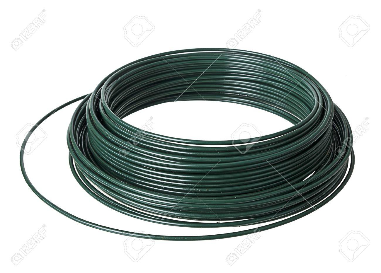 PVC Plastic Coated Wire Coil - Over White Background Stock Photo ...