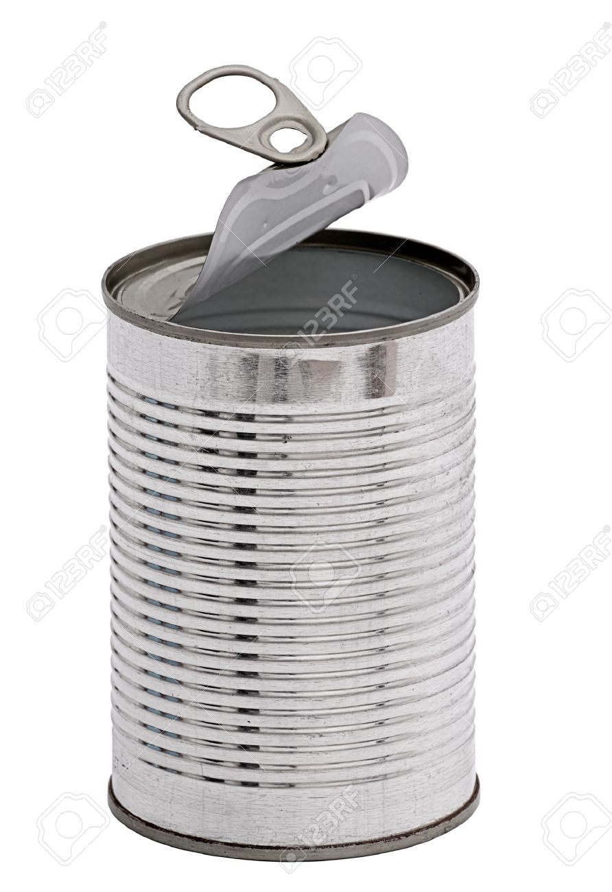 Empty tin can, isolated Stock Photo - 11938397