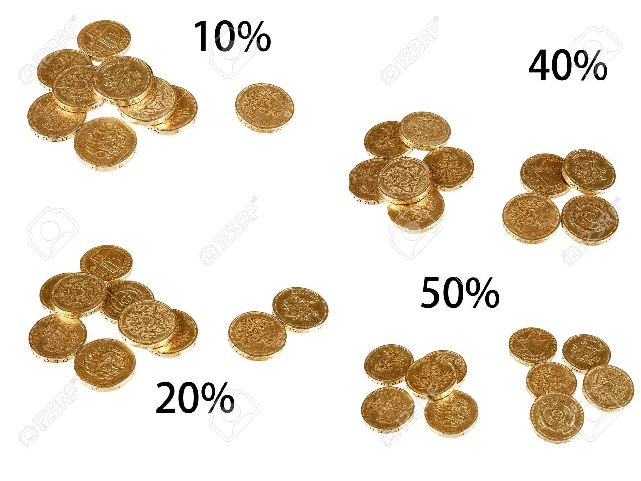 UK tax rates - isolated pound coins over white Stock Photo - 15049798