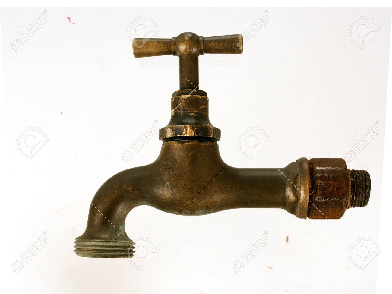 Antique Plumbing - Old Brass Tap Isolated Stock Photo, Picture And ...