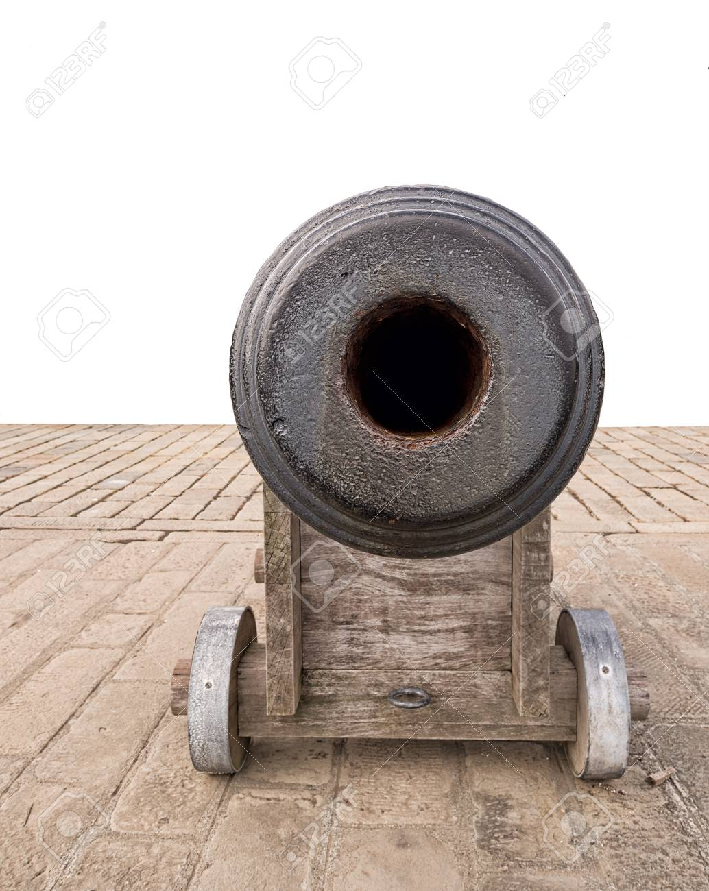 Ancient Cannon View Down The Barrel Of The Gun White Background Stock Photo Picture And Royalty Free Image Image 33657932
