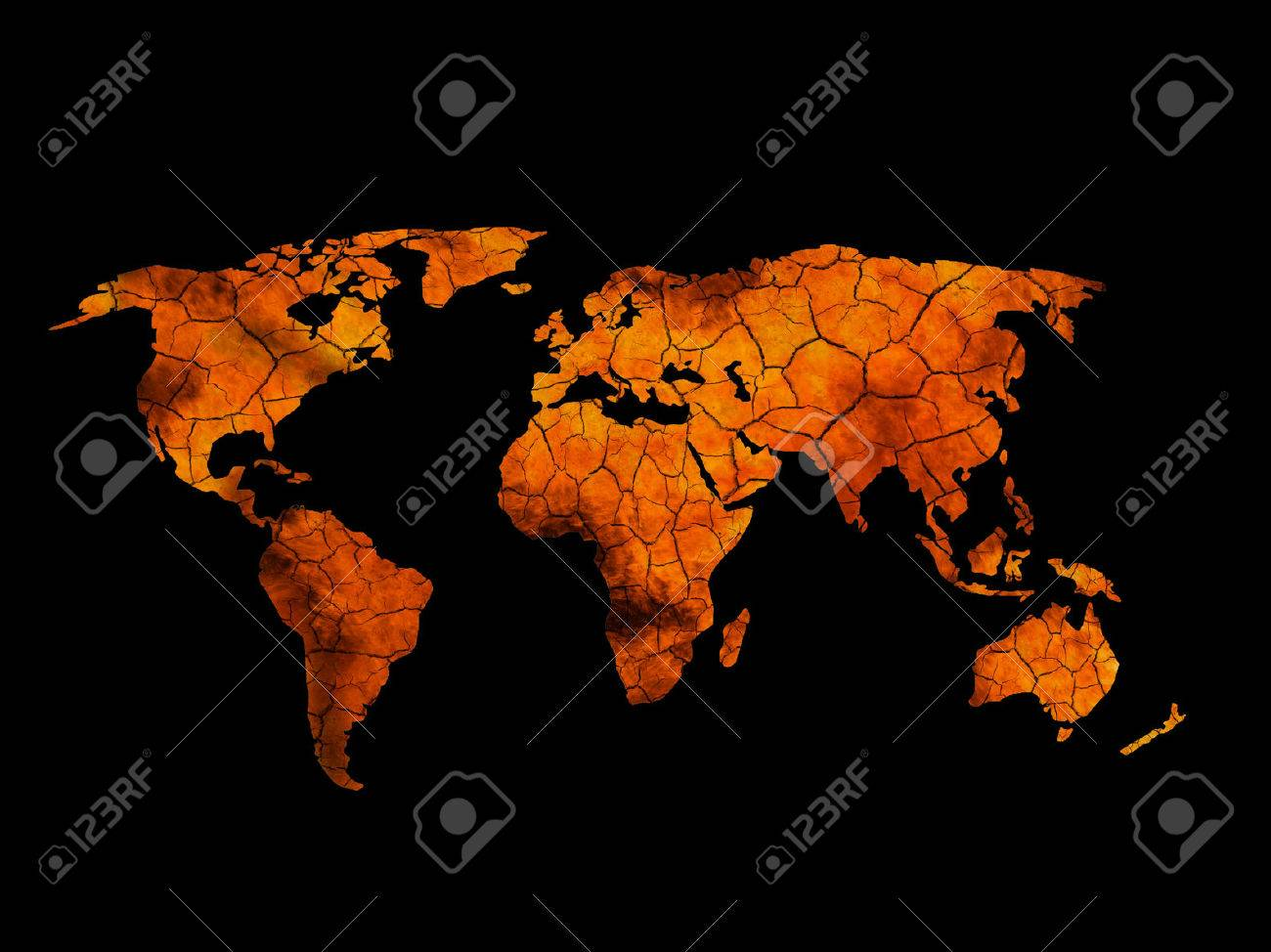 Scortched Earth Map.Cracked Scorched Earth Map Eco Background Climate Change Stock
