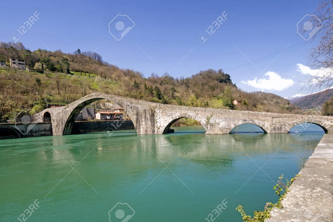 Devil\'s Bridge, Bagni Di Lucca, Italy. Sunny Day, Spring 2018. Stock ...