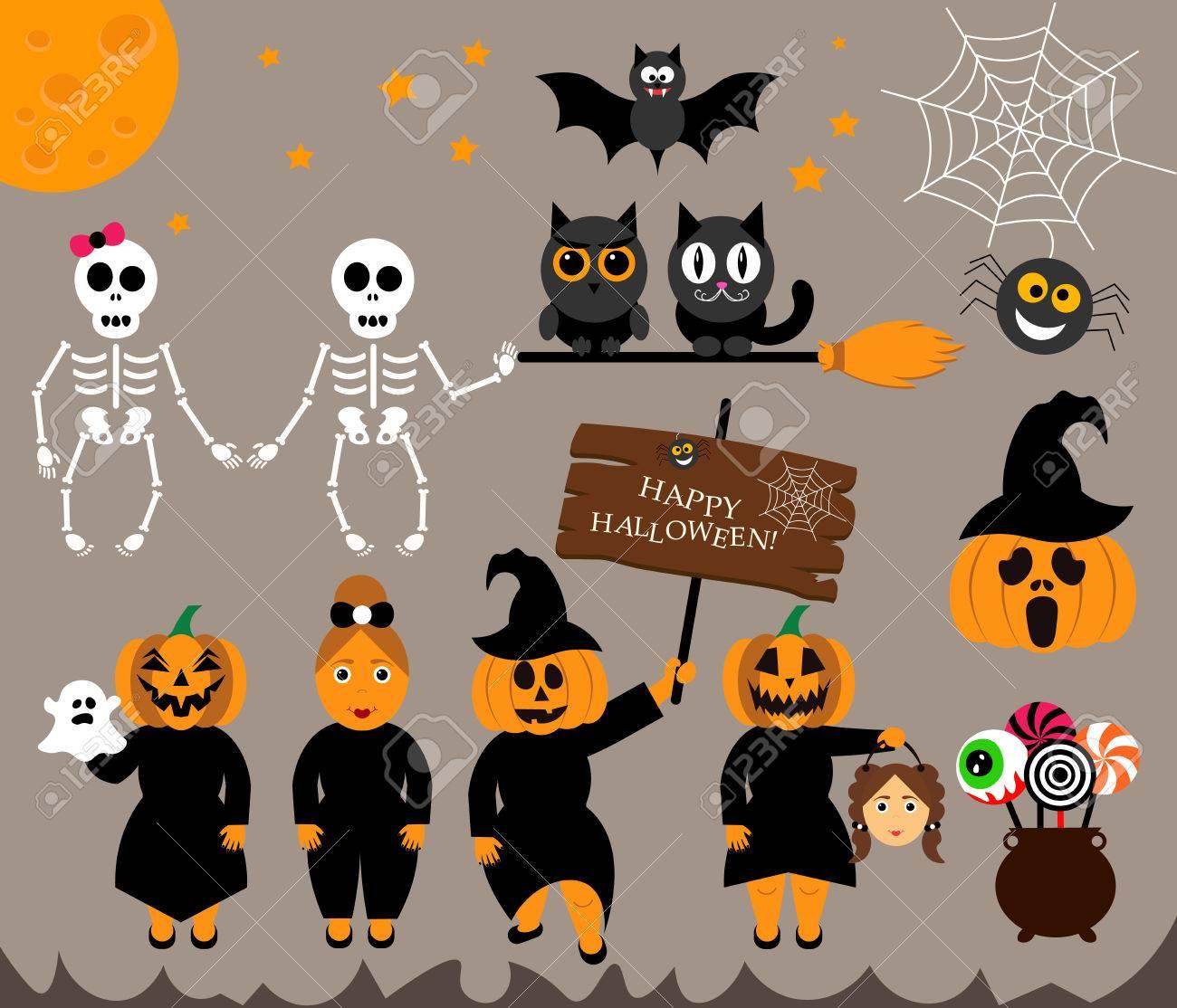 Vecteur Défini Des Personnages Pour Halloween Dans Le Style Moderne De Dessin Animé Personnes Citrouille Fantôme Bonbons Chaudron Chat Hibou