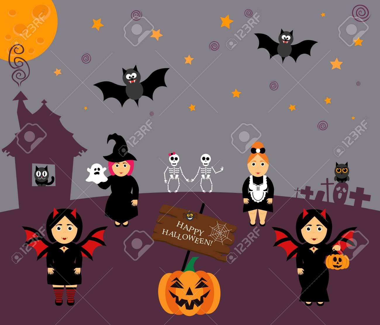 Vecteur Défini Des Personnages Pour Halloween Dans Le Style Moderne De Dessin Animé Fille Fantôme Chat Hibou Balai Lune Chauve Souris Et Autres