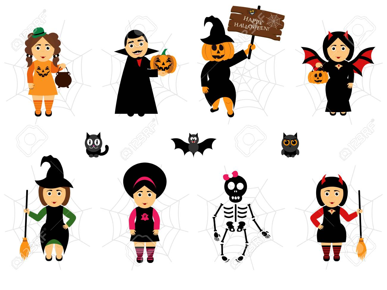 Vector set for Halloween in cartoon style. People in holiday..