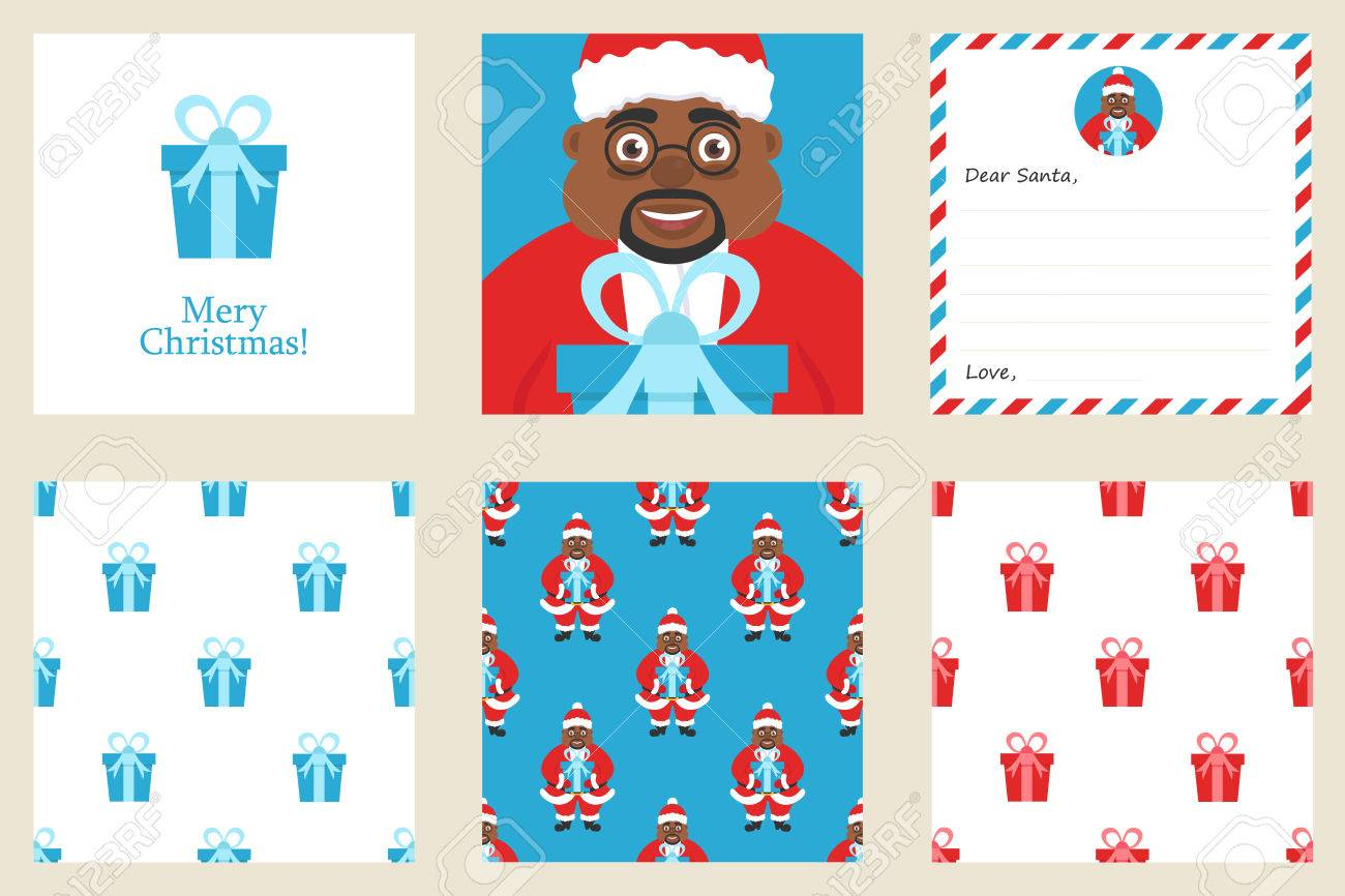 merry christmas and new year greeting card set includes holiday themed seamless patterns cute