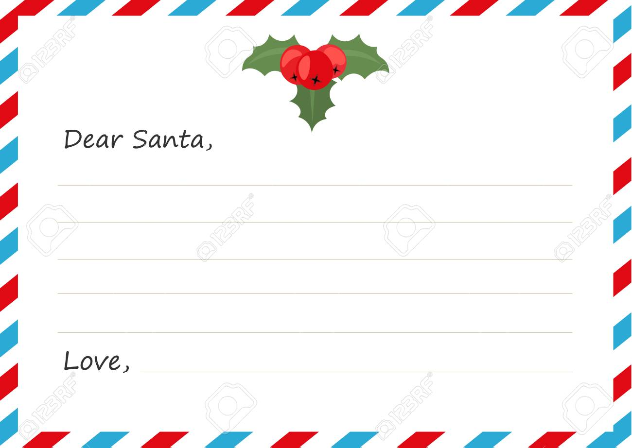 Sobre De La Plantilla Carta De Año Nuevo A Santa Claus Ilustración