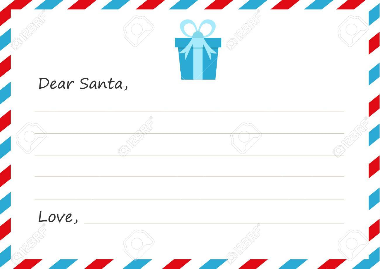 Template Envelope New Year\'s Letter To Santa Claus. Vector ...