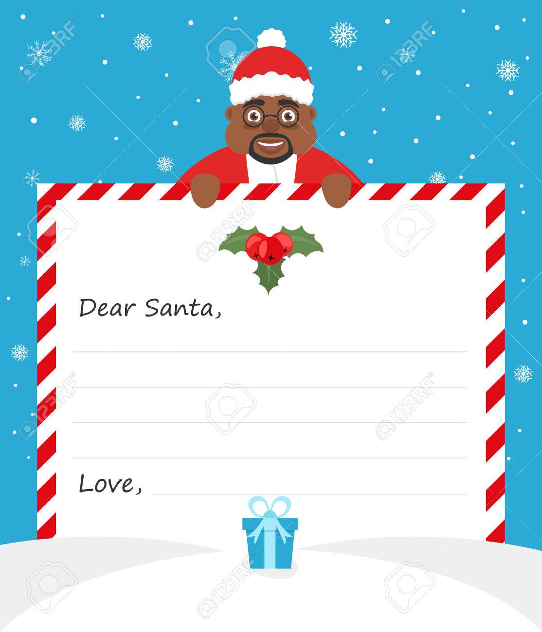 handsome african american santa in uniform suit is holding a paper and smiling friendly merry