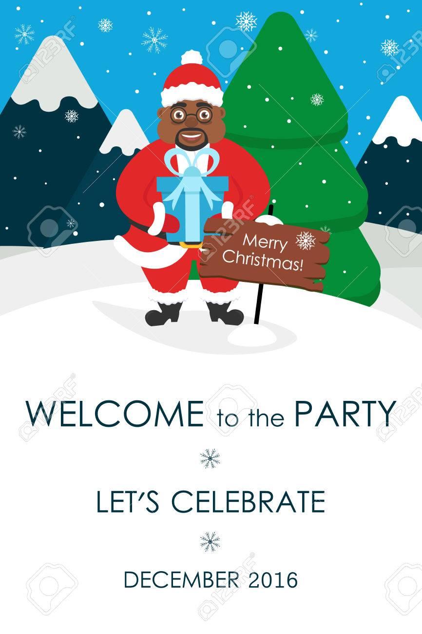 3b5bb66dceef Banque d images - Invitation de fête de Noël. Placez votre message texte.  Carte de voeux. Mignon Père Noël africain. Illustration vectorielle. Design  plat.