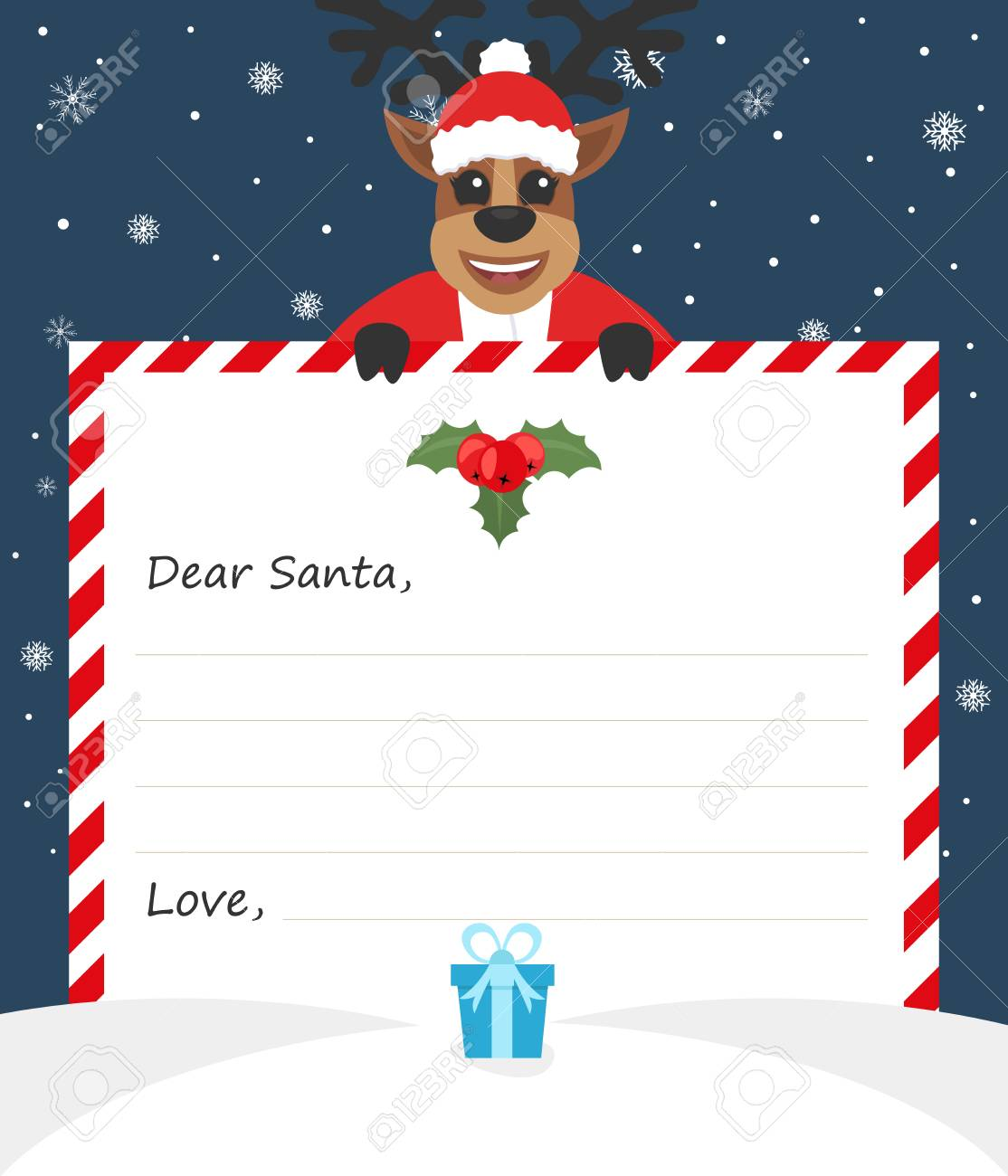 Template Envelope New Year\'s Letter To Cute Santa Claus With ...