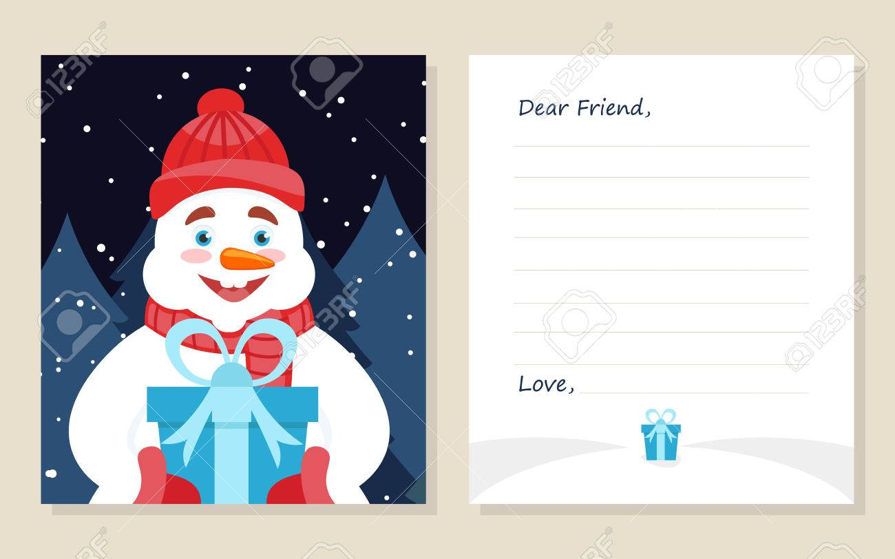 Template greeting card new years or merry christmas letter to template greeting card new years or merry christmas letter to dear friend cute snowman with spiritdancerdesigns Gallery