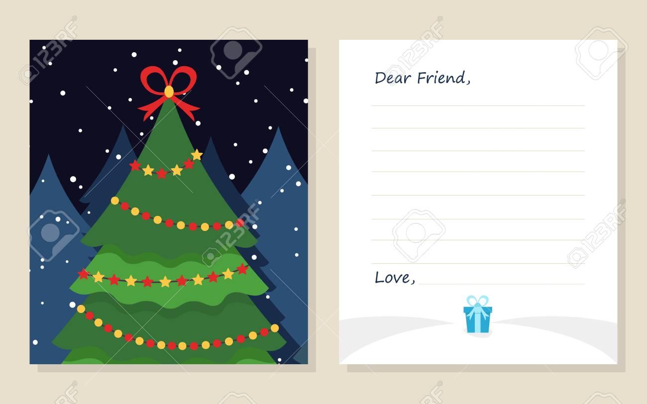 Schablonengrußkarte Des Neuen Jahres Oder Frohe Weihnachten Brief An ...