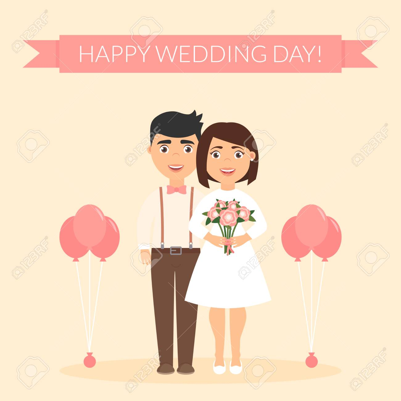 happy wedding day greeting card for newlyweds festive vector