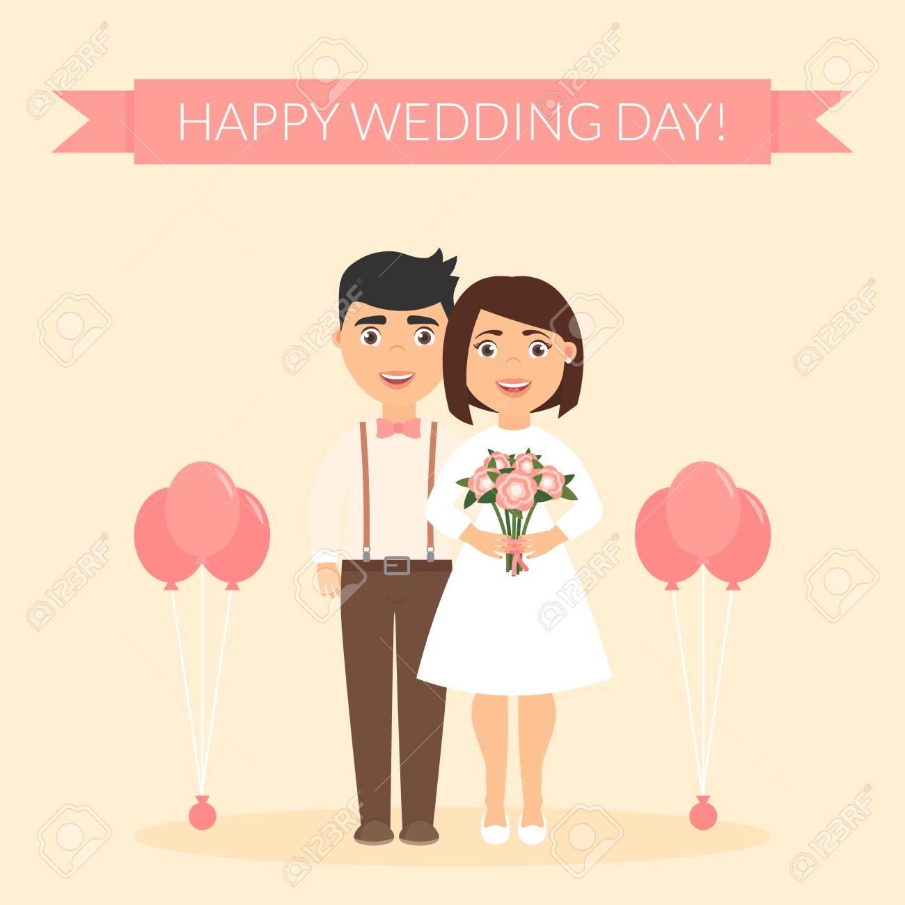 Banque d\u0027images , Jour de mariage heureux. Carte de voeux pour les jeunes  mariés. Illustration vectorielle festive. Mignon beau couple.