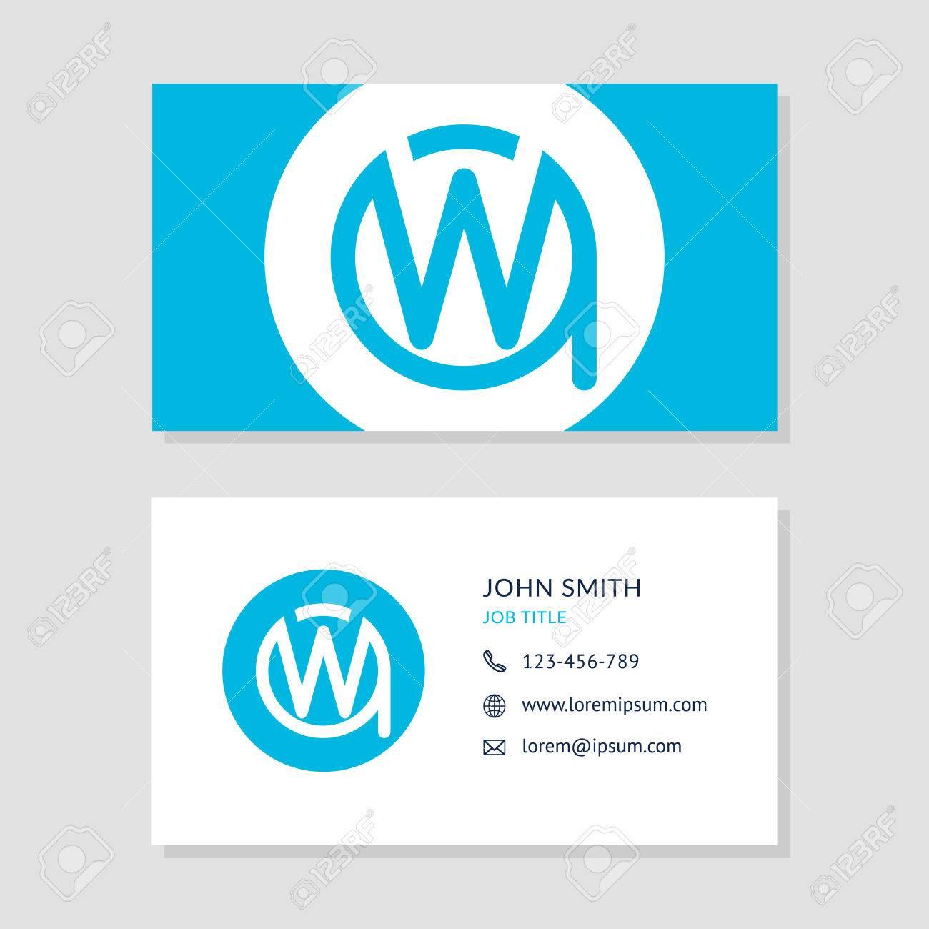 Modern Business Card Blue Colors Set. Creative Company Logo Initial ...