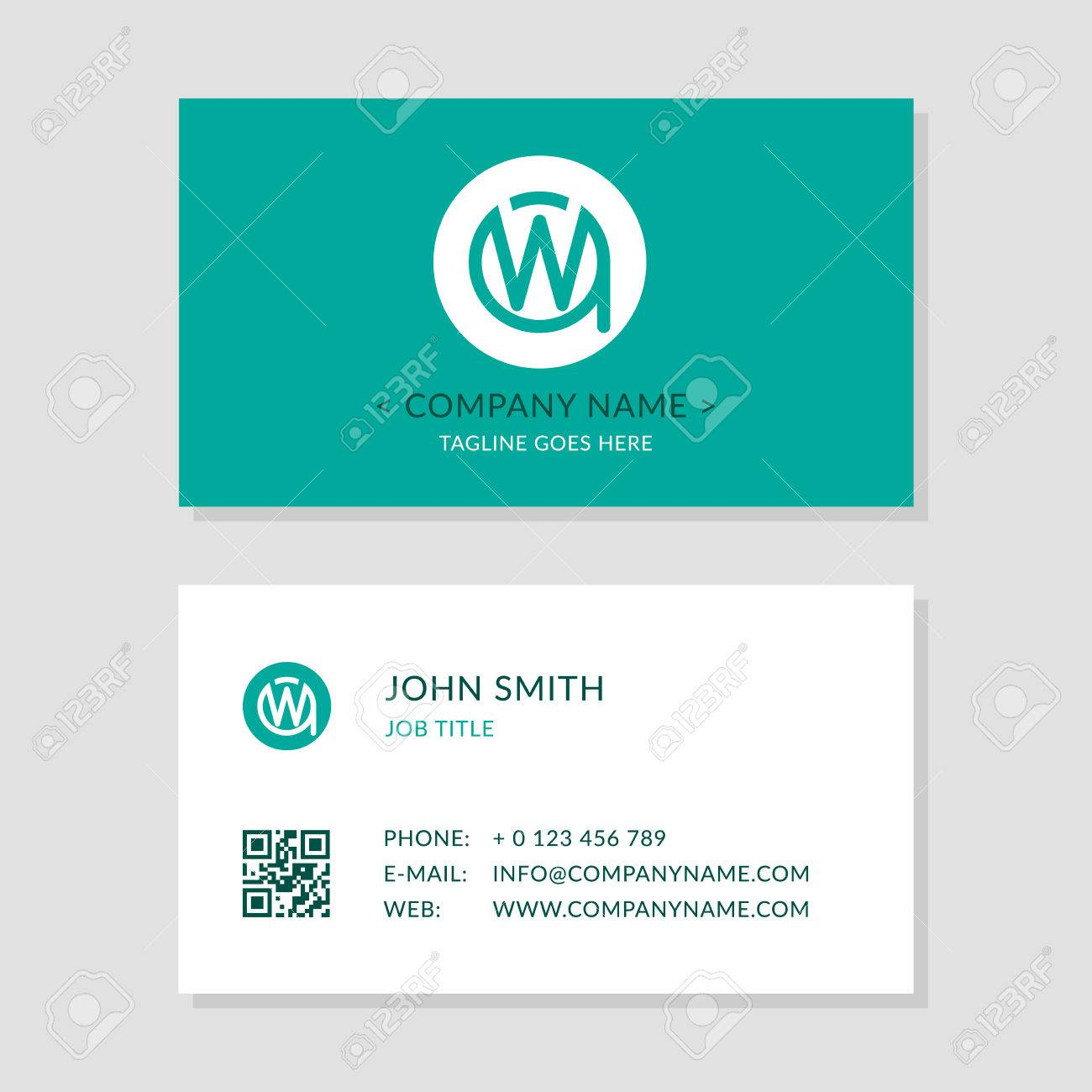 Modern Business Card Green Colors Set. Creative Company Logo ...
