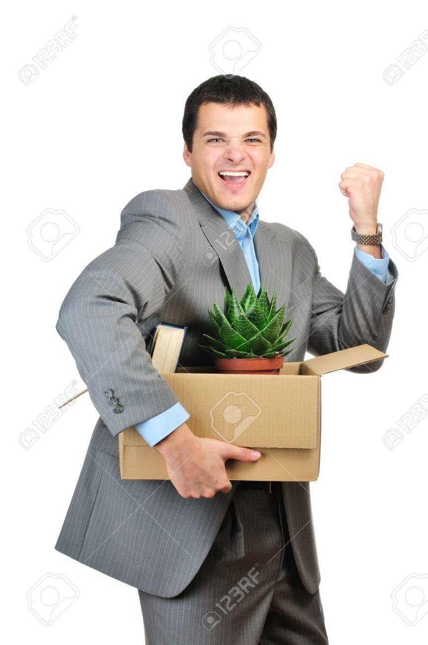 You are fired! Young happy businessman hold cardboardbox with personal belongings. Isolated on white background. Stock Photo - 6110962