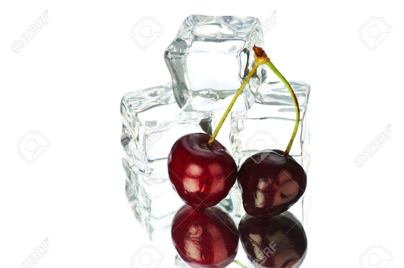 Cherry and ice cubes isolated on white background Stock Photo - 7682372