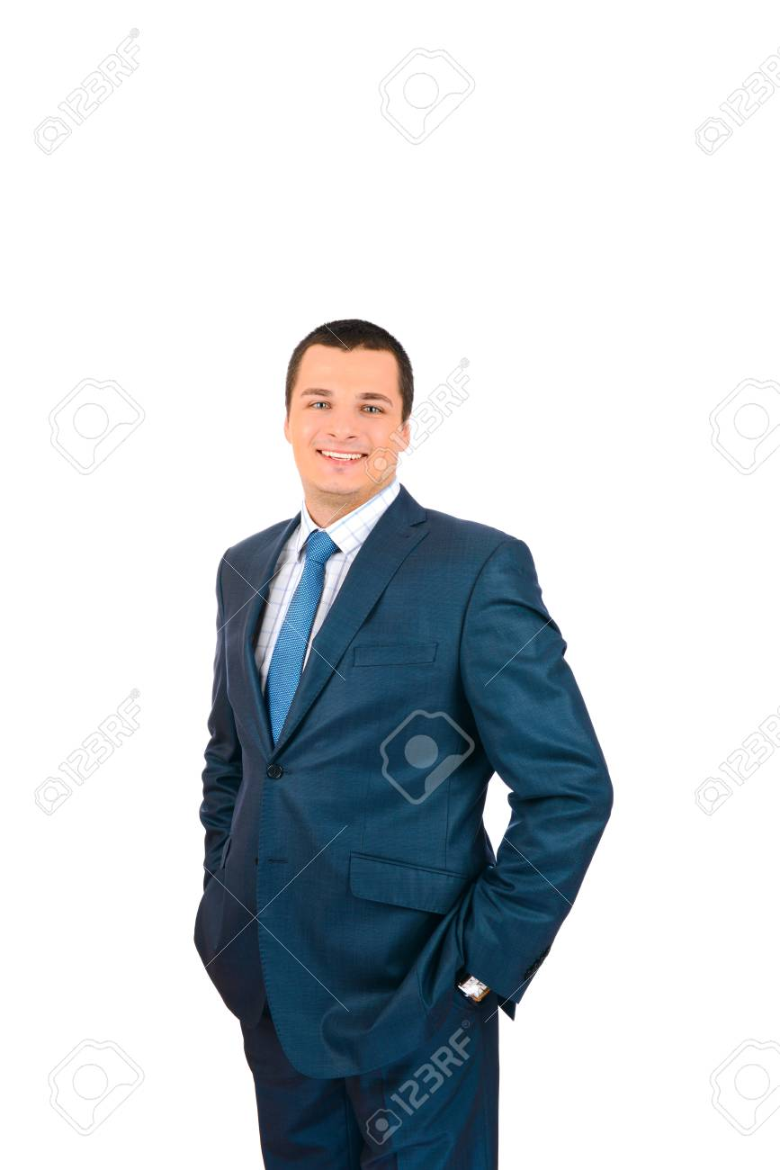 Portrait of a happy smiling business man, isolated on white background Stock Photo - 17099044