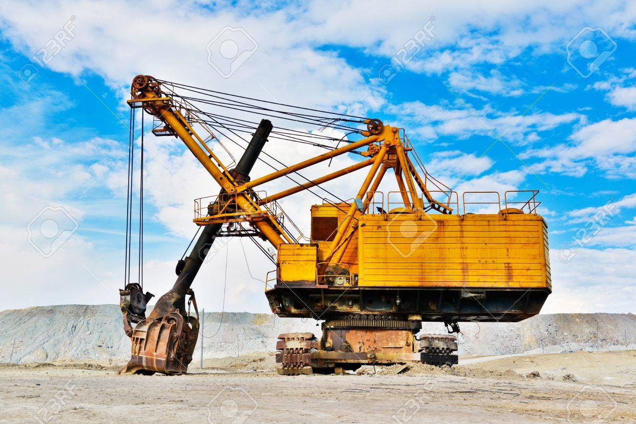 Mining industry machine - vintage excavator Stock Photo - 21587640