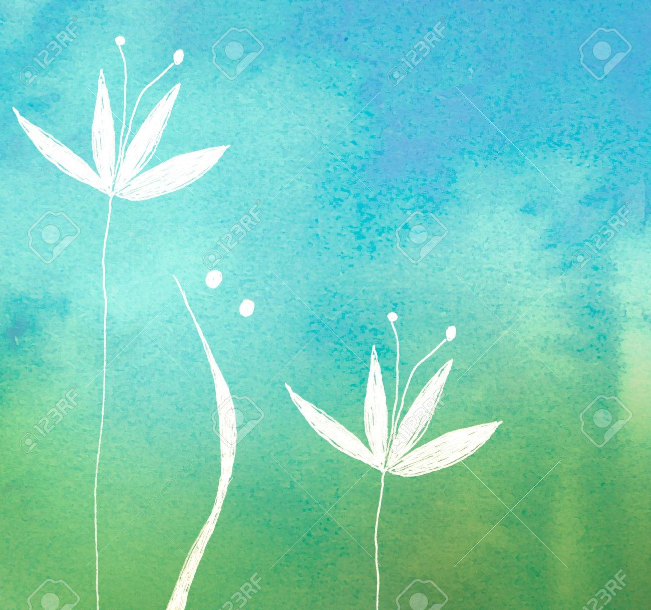 white flower on green painted watercolor background - 50343700