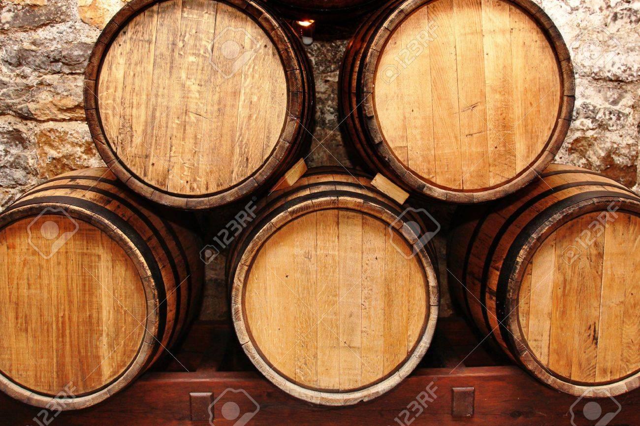 storage oak wine barrels. Stock Photo - Storage Of Oak Wine Barrells In A Cellar Barrels