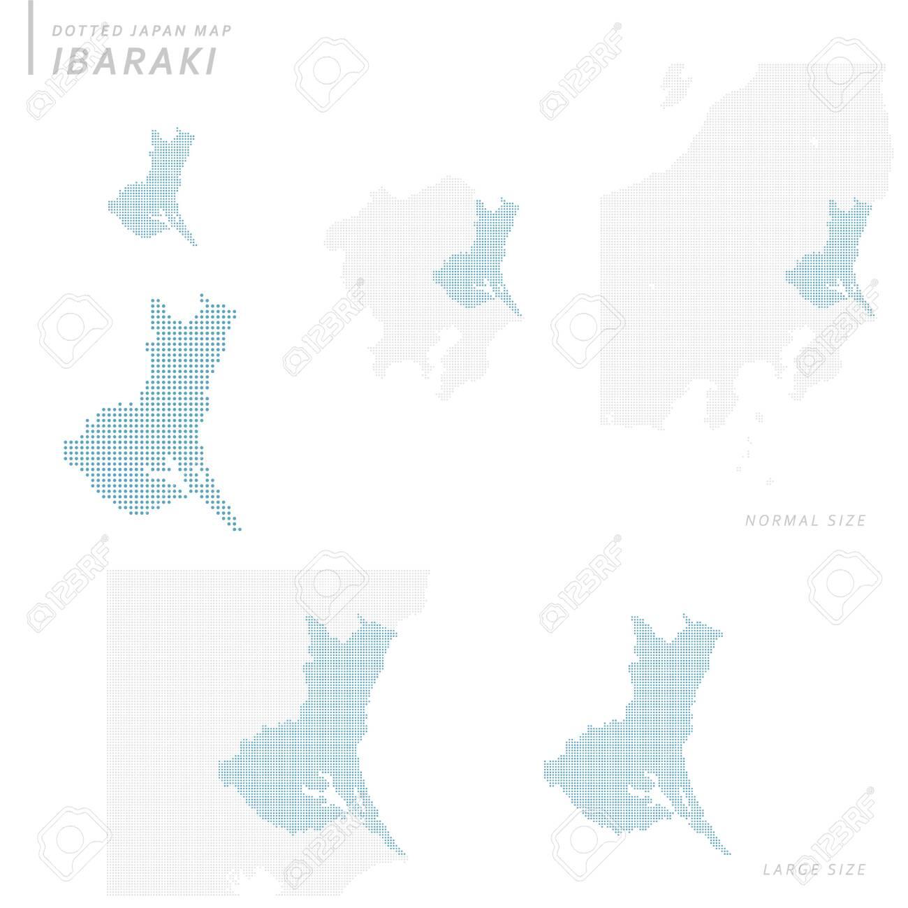 Dotted Japan map set, Ibaraki - 148750810