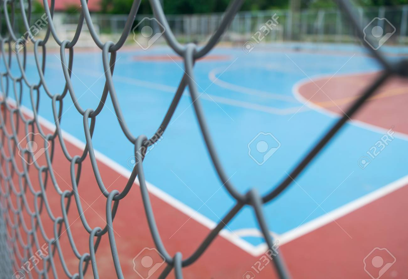 Blur And Soft Focus Steel Net With Empty Futsal Court Stock Photo ...