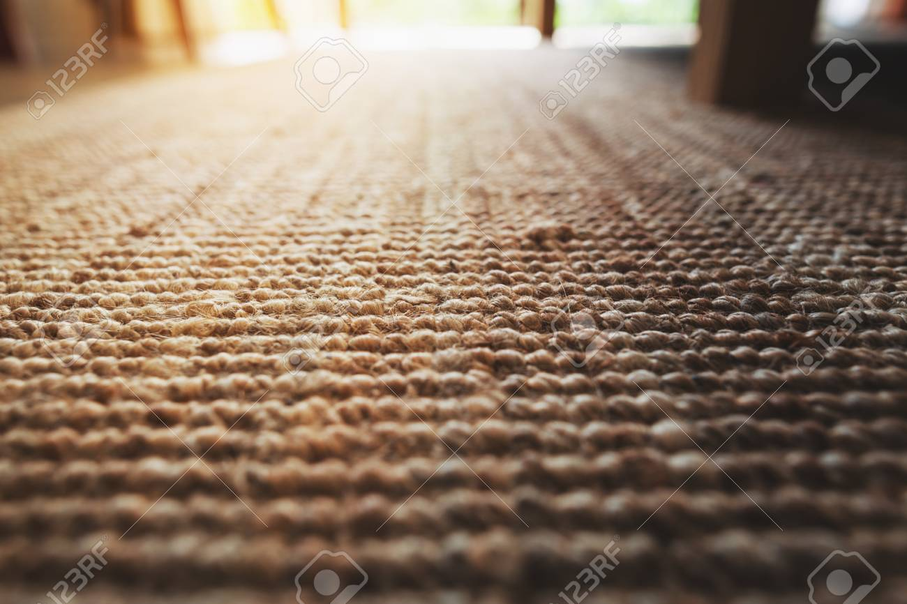 Perspective Close Up Beige Carpet Texture Floor Of Living Room Stock Photo