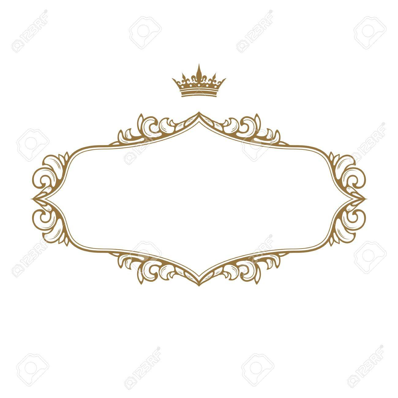 elegant royal frame with crown isolated on white background stock vector 18933972