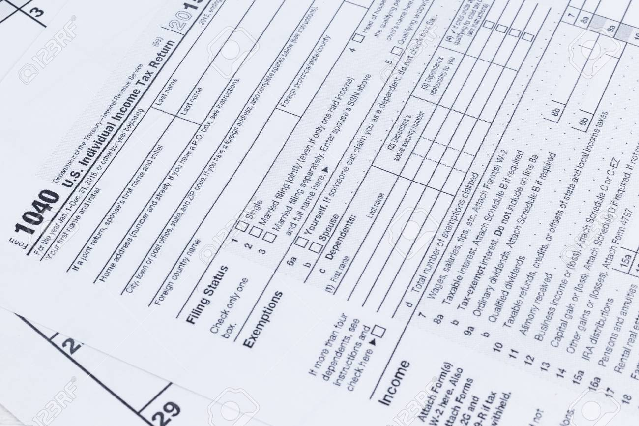 A close up of a 1040 tax form  US Individual Income Tax return