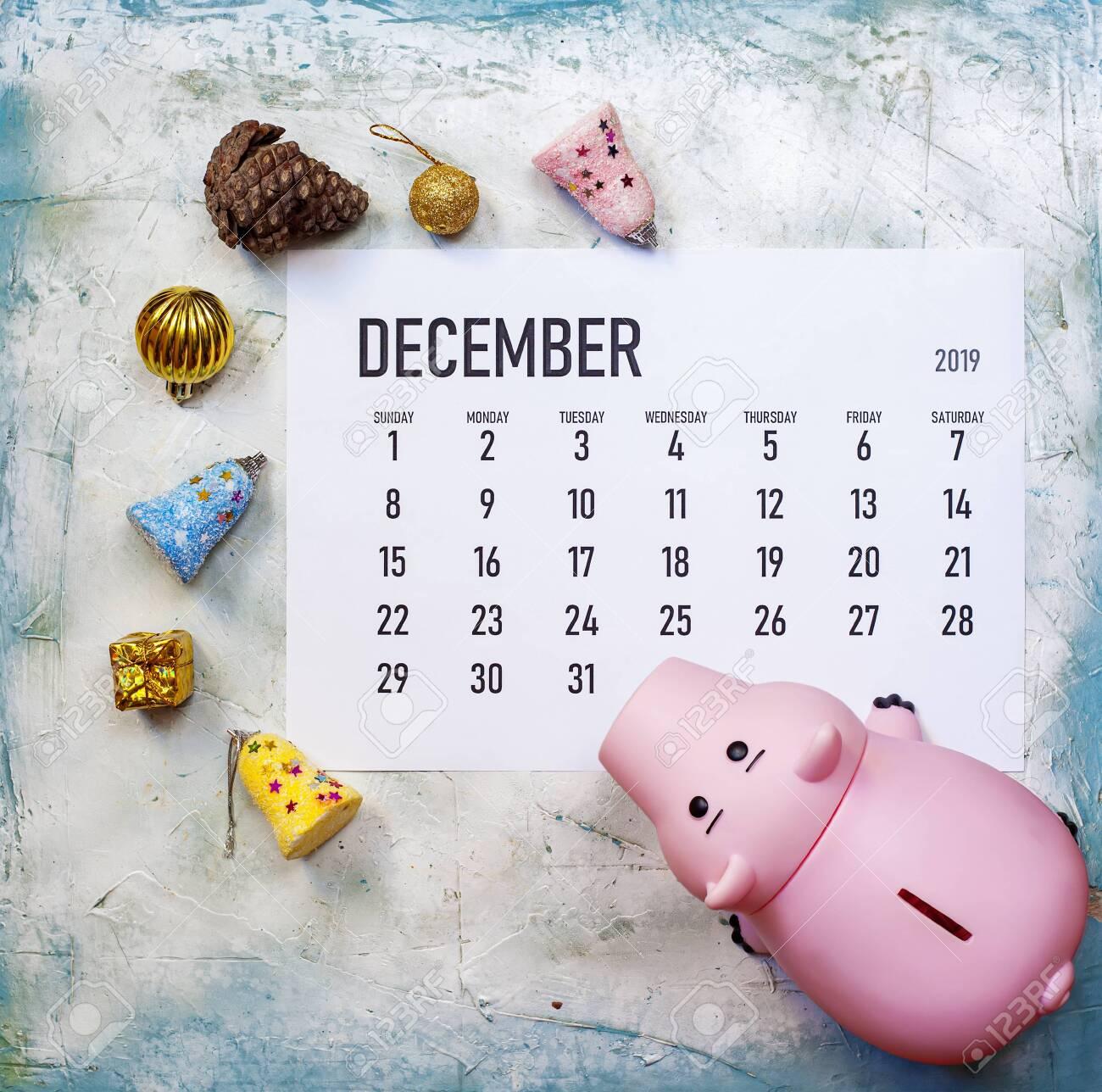Christmas 2019 Calendar.December 2019 Calendar With Christmas Toys And Piggy Bank Planning