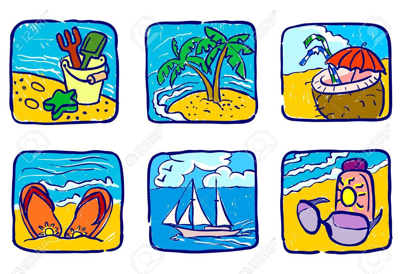 Hand-drawn summer icons set Stock Vector - 7255356