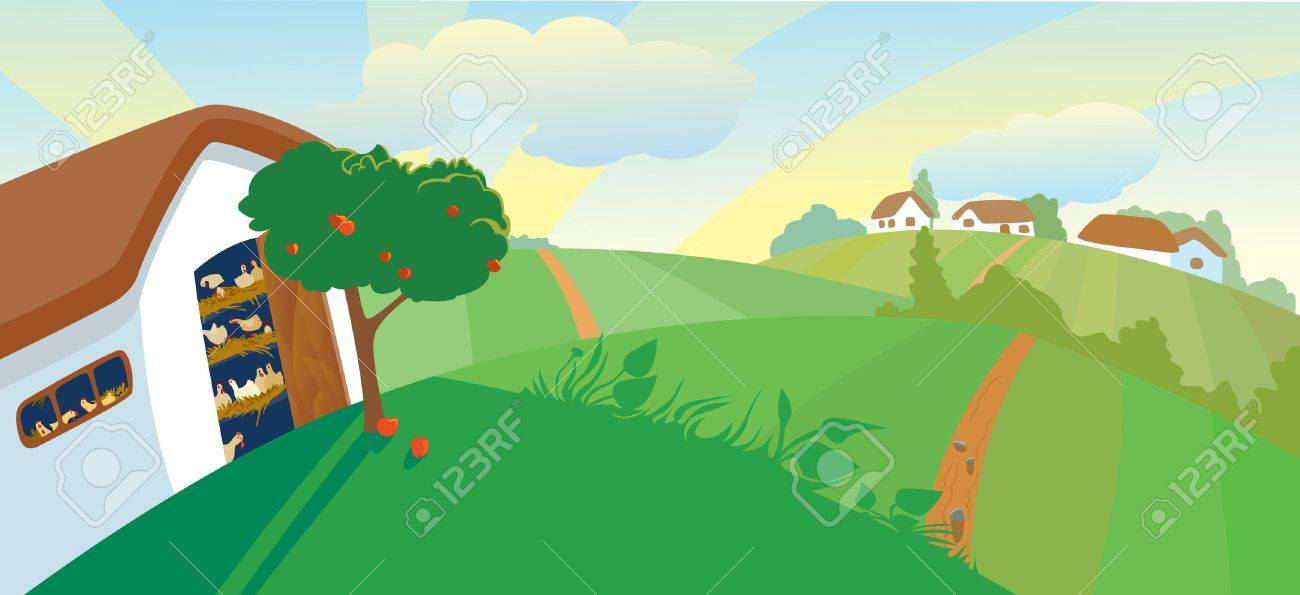 Hen house in the afternoon Stock Vector - 7255190