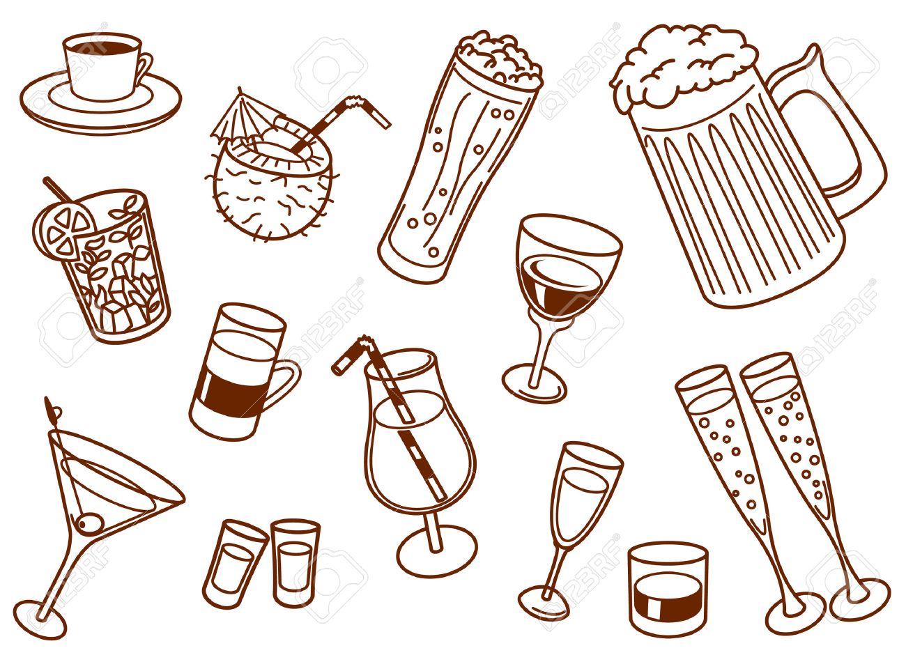 Drinks doodle set Stock Vector - 7258712