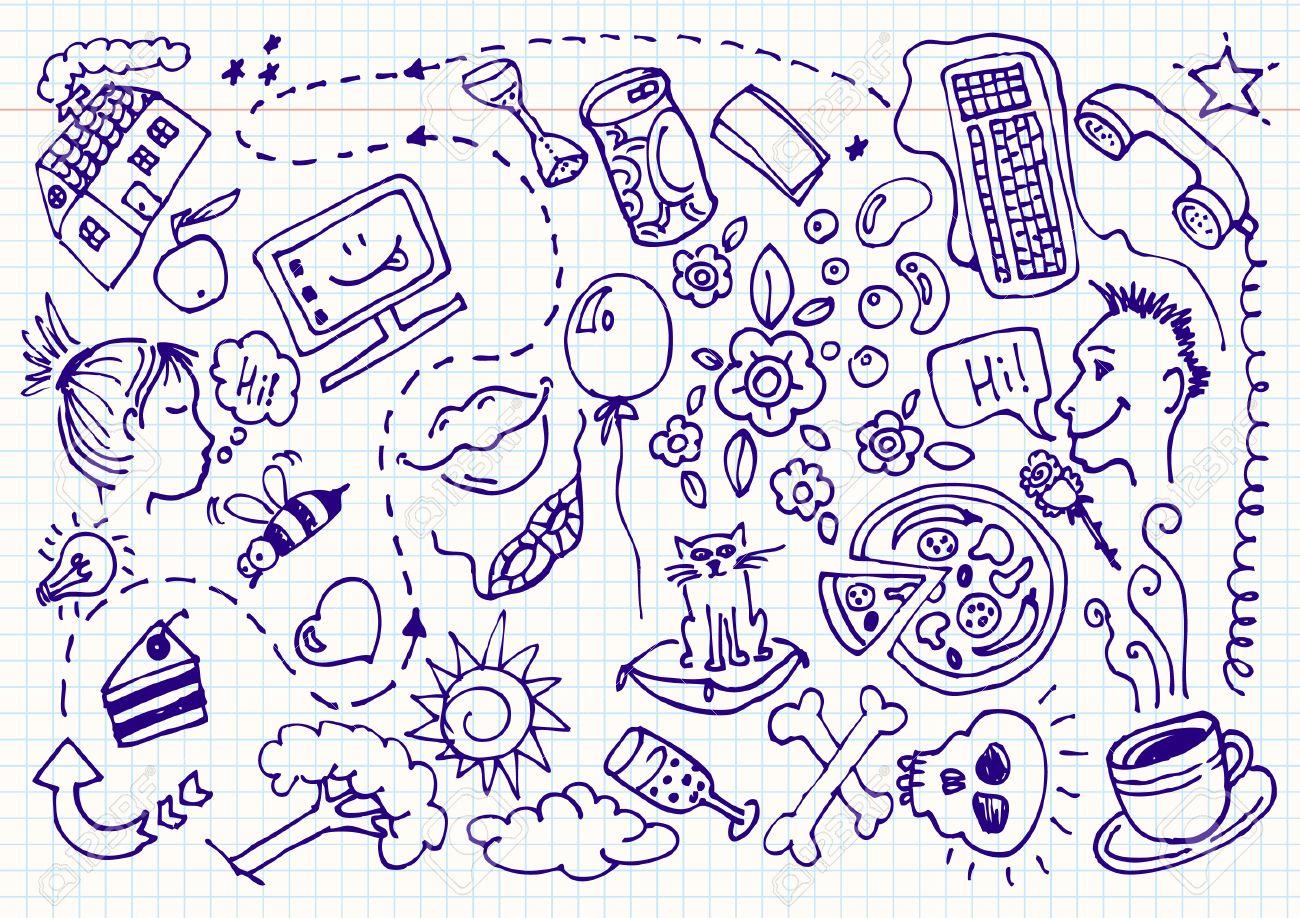 Dating doodles set illustration Stock Vector - 7298163